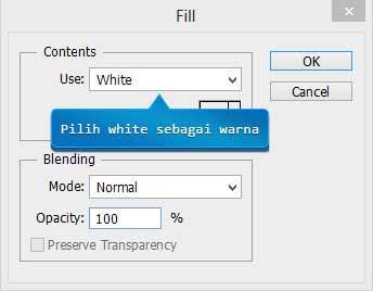 Fill dengan warna putih