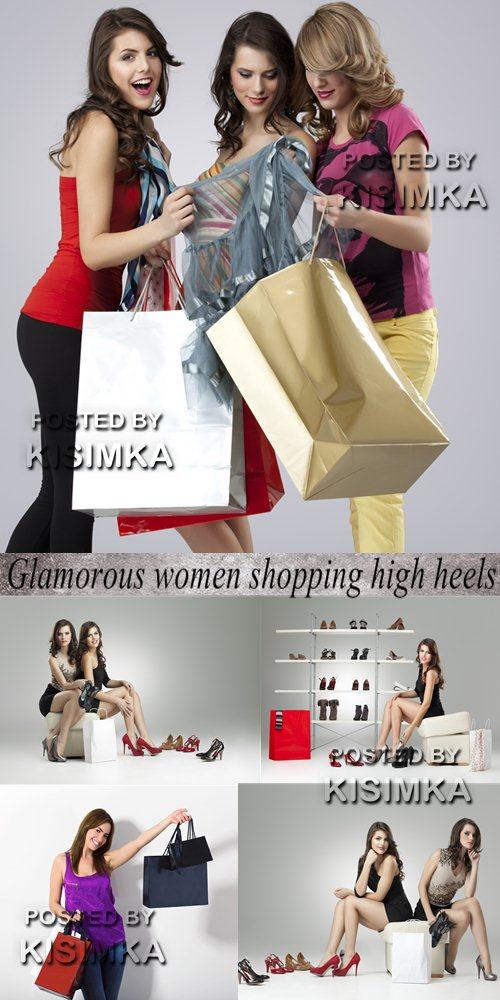 Stock Photo: Glamorous women shopping high heels