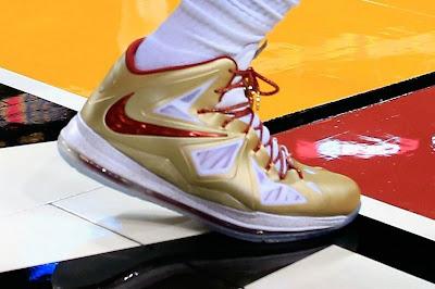 nike lebron 10 pe championship gold 5 01 Nike LeBron X Championship Gold Swoosh Alternate Version