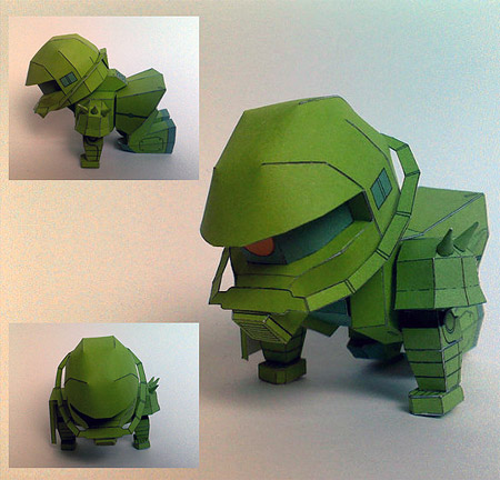 SD Zaku II Papercraft Crawl Position