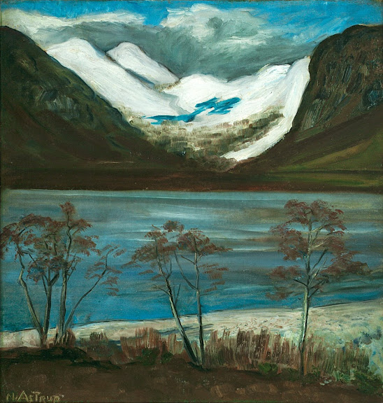 Nikolai Astrup - Trees and Snowy Mountains