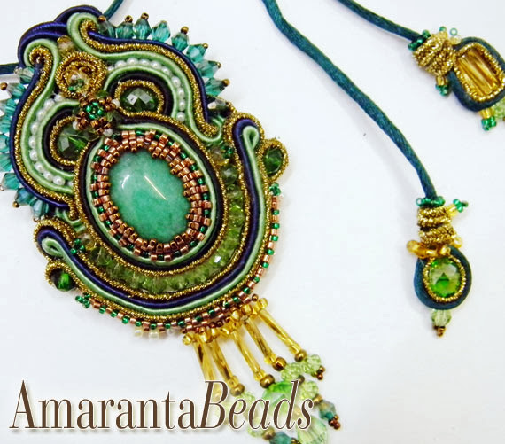 Soutache Pendant by Amaranta Beads