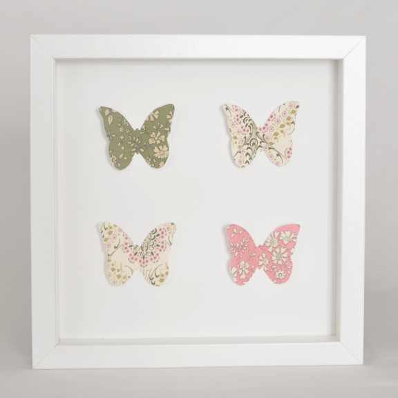 Grand cadre papillons Papillons vert et rose Mille Coquelicots