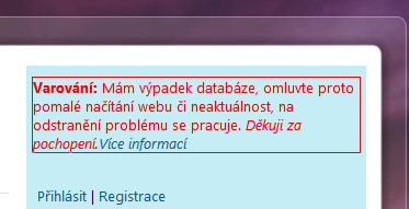 výpadek databáze