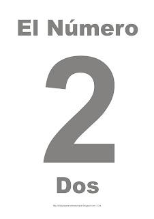 Lámina para imprimir el número dos en color gris
