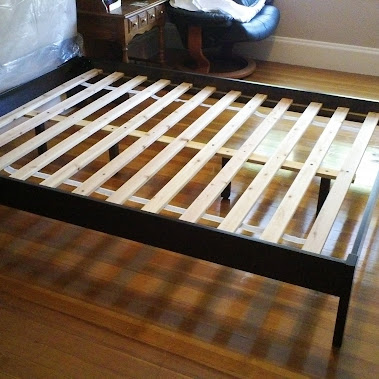 Beautiful Detailed images of the West Elm Simple Bed Frame including the slats and cent