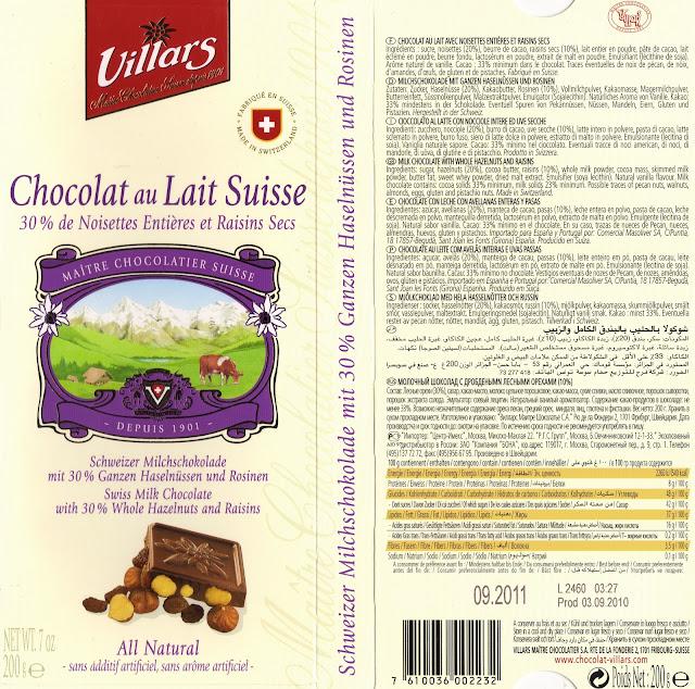 tablette de chocolat lait gourmand villars lait noisettes entières et raisins secs