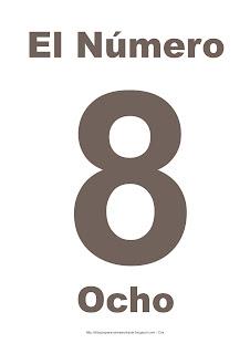 Lámina para imprimir el número ocho en color marrón
