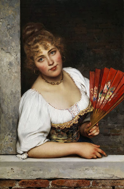 Eugene de Blaas - The red fan