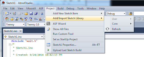 Visual studio ide for arduino quot project gt add import