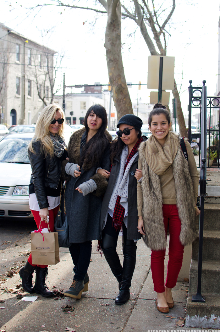 Katya, Carla, Carlis and Alejandra on the street in Old Town Alexandria VA