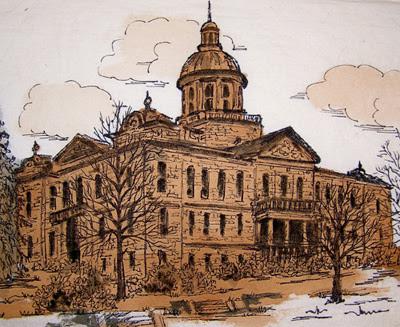 """""""Courthouse"""" Pen & Ink by artist Serena Boschert."""