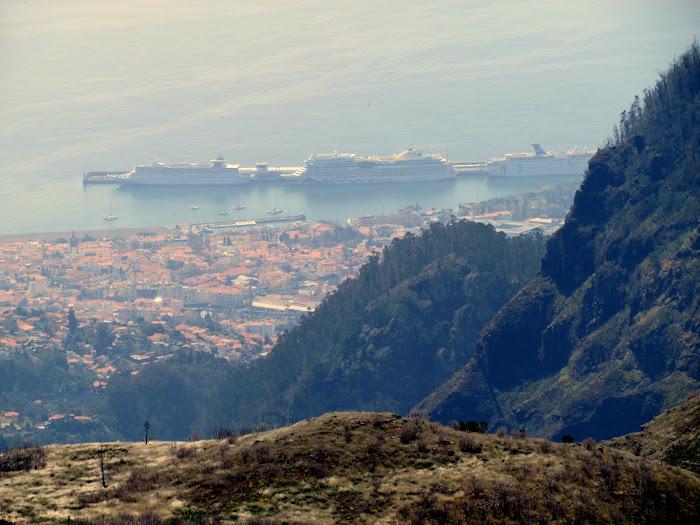 Funchal port view from Areeiro peak street