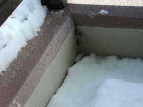 ベランダに積もった雪