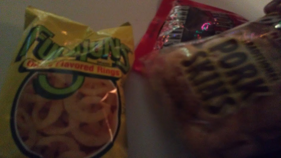 Funyuns (Pork skins and beef jerky for A)