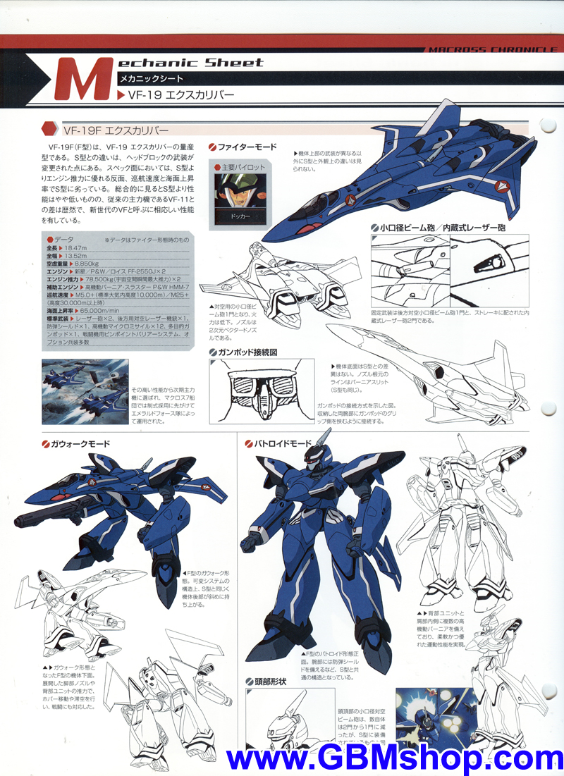 Macross 7 VF-19 Excalibur Blazer Valkyrie Mechanic & Concept Macross Chronicle