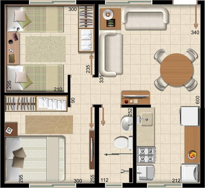 decoracao de interiores de quartos pequenos:Planta do apartamento de dois quartos