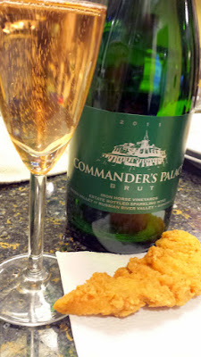 Fried chicken tenders with Iron Horse Vineyards Commander's Palace Brut