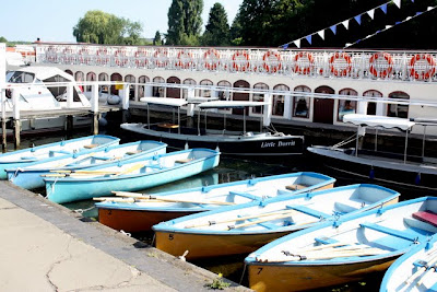 Boats in Henley on Thames during the Henley Royal Regatta in England