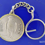 The Falcon of Arabia. Traditional Arabic impressions. Silver plated minted brass medal 35 mm in diameter.