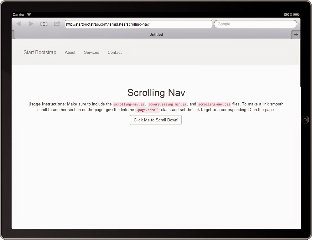 Free Bootstrap Themes Tablet Screenshot