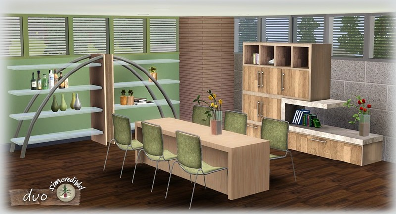 My Sims 3 Blog: Duo Dining Room Set by Simcredible Designs