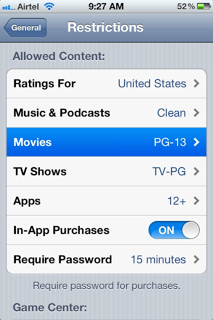 Enable content specific restrictions on child in iPhone