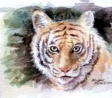 """""""Tiger in the Shadows"""" by Adrienne Rosen. Watercolor. $250.00"""