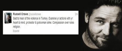 Actor Russell Crowe tweets about Gezi Park protests