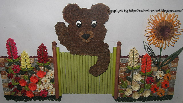Quilled-Teddy-bear-and-colourful-garden-flowers