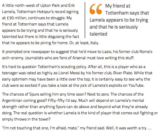 The Secret Footballer sheds insight into Erik Lamelas struggles at Spurs