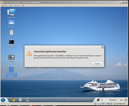 Zorin OS 6.4 x32 Untrusted application launcher Untrusted application launcher   Zorin OS 6.4 sau Linux Ubuntu