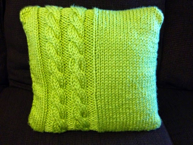 Knit Throw Pillow Cover Pattern : Emily Does Everything: Free Knitting Pattern: Cabled Throw Pillow Cover