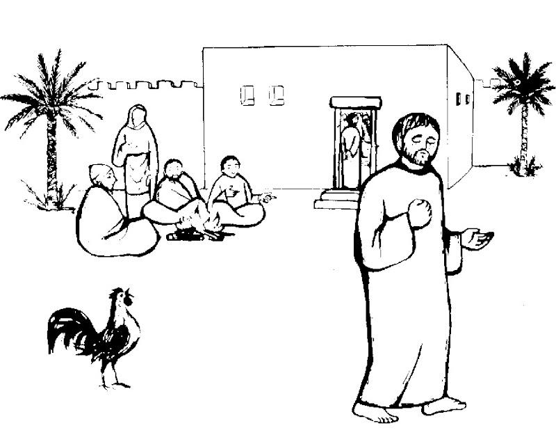 Pedro Niega a Jesús para colorear