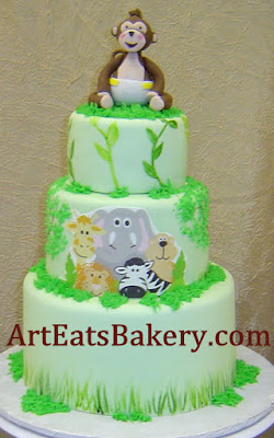 Jungle themed custom baby shower cake design with edible 3D monkey topper - picture