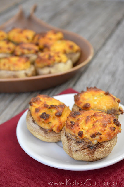 Buffalo Chicken Stuffed Mushrooms | KatiesCucina.com #appetizer #recipe #superbowl