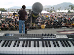 Setting up to play the festival...notice the notes Brian left on my keyboard for our TV gigs