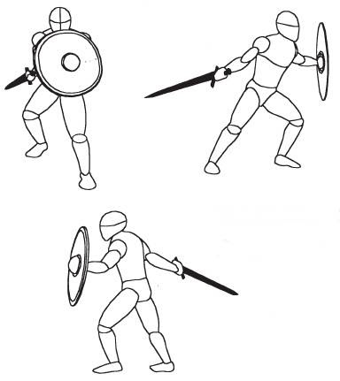 В столпотворении массового сражения средняя и высокая стойки более удобны и легче в использовании, чем задняя стойка, которая требует большего пространства для широких движений и большого угла удара.