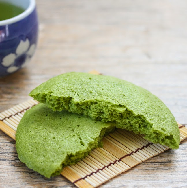 close-up photo of a matcha cookie