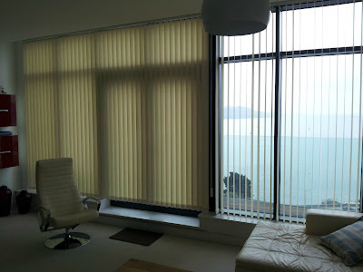 Here the customer required the vertical blinds to be split into 2 blinds, offering flexiblity for their requirements, these blinds are also suitable for the commercial market application.