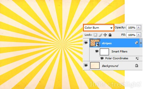Change the stripe layer's Blending Mode to Color Burn.