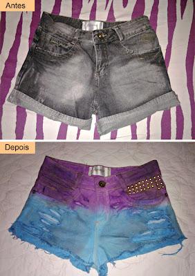 customizando short com dip dye e tachinhas