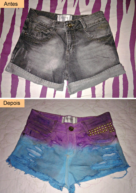 customizando short com dip dye e tachinhas