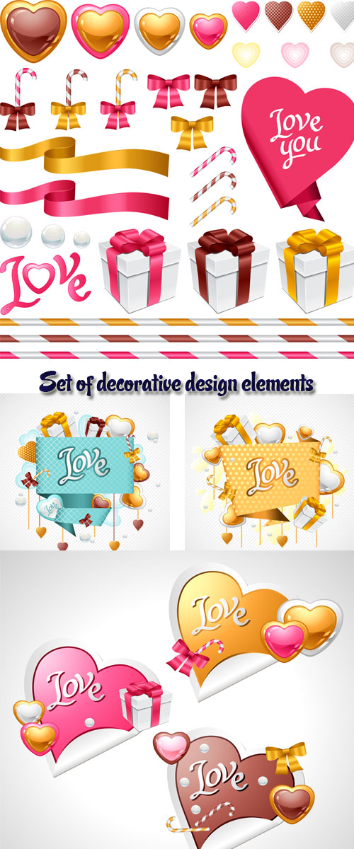 Stock: Set of decorative design elements for Valentine Day