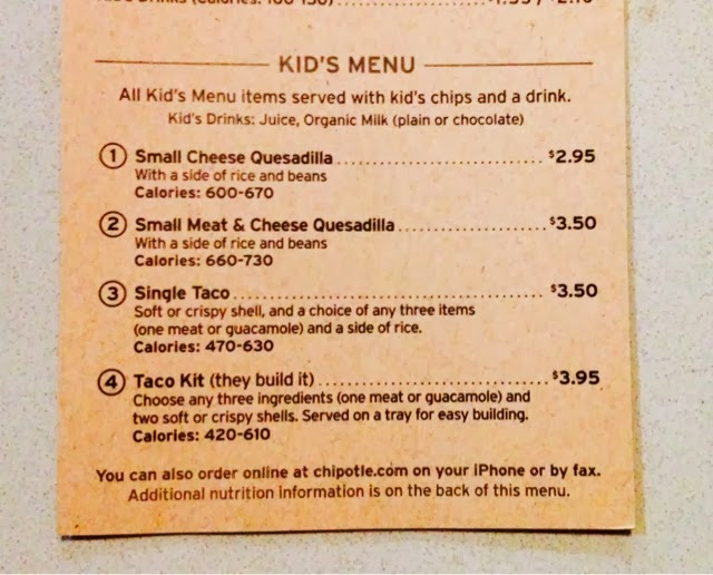 image relating to Printable Chipotle Menu known as The Children Menu: Chipotle children menu and price ranges