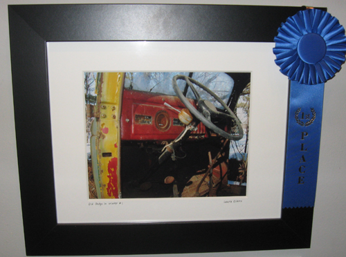 """First Place: Laura Evans """"Old Dodge in Winter #1"""""""