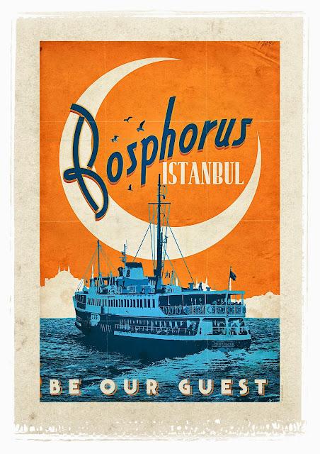 retro poster of bosphorus
