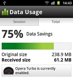 Новые версии браузеров Opera Mini и Opera Mobile умеют учитывать сэкономленный трафик