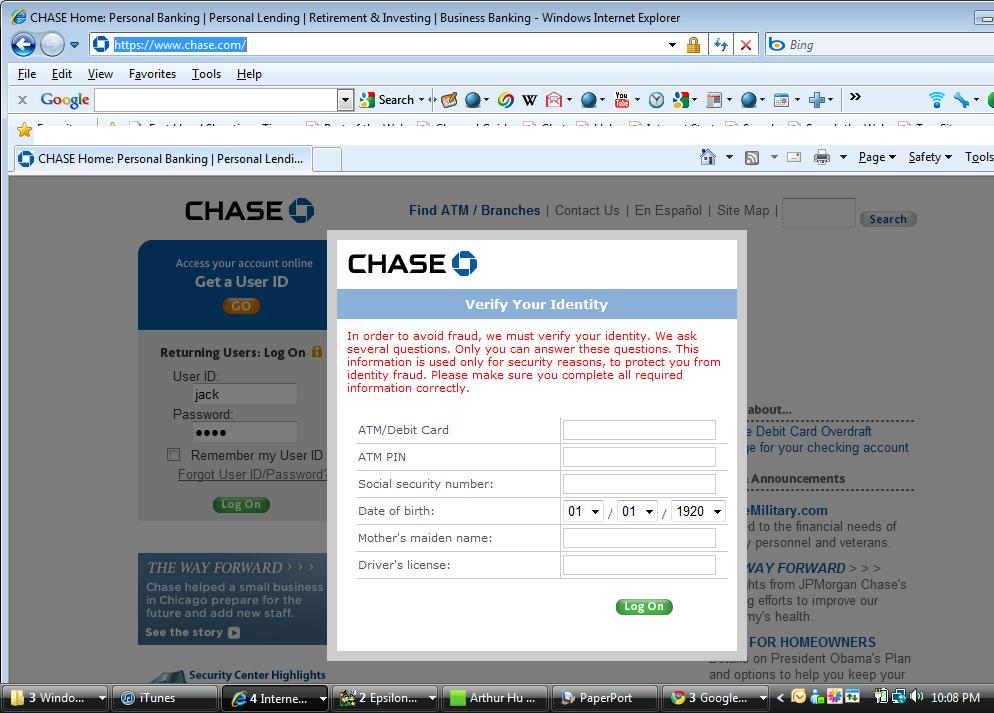 Whats on first chase bank internet explorer phishing trojan scam chase bank internet explorer phishing trojan scam alert reheart Gallery