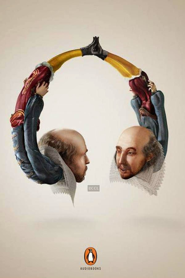 Penguin audiobooks author headphones advertisement is quite a creative take on famous literary figures and technology.